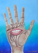 Palmistry Metal Prints - The Hand Speaketh Metal Print by R Neville Johnston