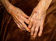 Elderly Hands Posters - The Hands Of Time Poster by Kay Sparks