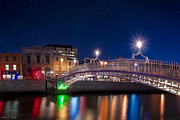 Halfpenny Prints - The HaPenny Bridge on a Winter Night in Dublin Print by Mark E Tisdale