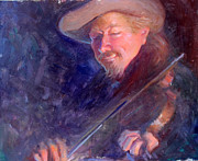 Musicians Painting Originals - The Happy Fiddler by Ernest Principato