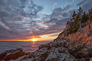 Bass Harbor Lighthouse Posters - The Harbor Dusk II Poster by Jon Glaser