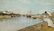 Subtle Metal Prints - The Harbour at Lorient Metal Print by Berthe Morisot