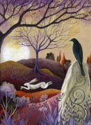 Browns Painting Posters - The Hare and Crow Poster by Amanda Clark