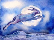 Moonlight Paintings - The Hare and the Moon  by Trudi Doyle