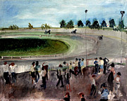 Spectators Paintings - The Harness Race by Dane Ann Smith Johnsen