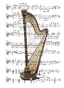 Music Score Digital Art Metal Prints - The Harp Metal Print by Ron Davidson