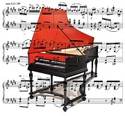Music Score Digital Art Metal Prints - The Harpsichord Metal Print by Ron Davidson