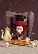Mad Hatter Digital Art Prints - The Hatter -  A Mad Tea Party Print by Liam Liberty