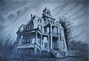 Haunted Drawings Prints - The Haunted Mansion Print by Raffi  Jacobian