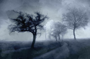 Grey Clouds Drawings Posters - The haunted Road Poster by Stefan Kuhn