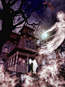 Haunted House Digital Art Metal Prints - The Haunting of Blackthorne Manor  Metal Print by Putterhug  Studio