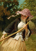 Sun Hat Digital Art Posters - The Haymaker Poster by George Elgar Hicks