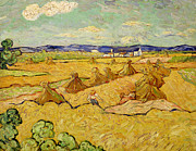 Farming Painting Prints - The Haystacks Print by Vincent van Gogh
