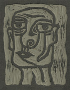 Linoleum Prints - The Head Linoleum Block Carving Print by Shawn Vincelette