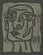The Head Linoleum Block Carving Print by Shawn Vincelette