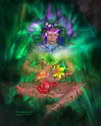 Lily Mixed Media Posters - The Healing Garden Poster by Carol Cavalaris