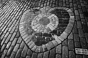 Edinburgh Art - The Heart of Midlothian set in wet cobbles on the royal mile edinburgh by Joe Fox