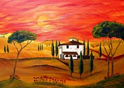 Tuscan Sunset Painting Prints - The Heat of Tuscany Print by Christine Huwer