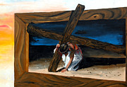 The Wooden Cross Art - The Heaviest Cross To Bear by Linda Rae Cuthbertson