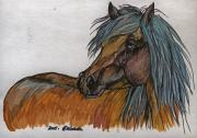 Horse Drawings - The Heavy Horse by Angel  Tarantella