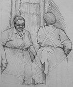 Blue Collar Drawings Prints - The Help - Housekeepers Of Soniat House Sketch Print by Jani Freimann