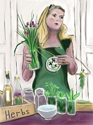 Featured Drawings Posters - The Herb Lady Poster by Jean Pacheco Ravinski