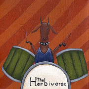 Drum Painting Framed Prints - The Herbivores Framed Print by Christy Beckwith
