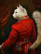 Fine_art Metal Prints - The Hermitage Court Chamber Herald Cat Metal Print by Eldar Zakirov
