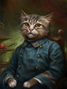Cute Kitten Posters - The Hermitage Court Confectioner Apprentice Cat Poster by Eldar Zakirov