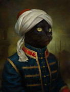 Modern Russian Art Posters - The Hermitage Court Moor Cat Poster by Eldar Zakirov