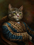 White Russian Digital Art Posters - The Hermitage Court Outrunner Cat Poster by Eldar Zakirov