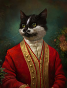 Herald Posters - The Hermitage Court waiter cat Poster by Eldar Zakirov