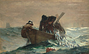 Water Color Digital Art Framed Prints - The Herring Net Framed Print by Winslow Homer