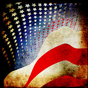 Usa Flag Mixed Media Metal Prints - The High Flying Flag Metal Print by Angelina Vick
