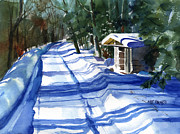Winter Storm Painting Prints - The High Road Print by Kris Parins