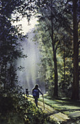 Sun Rays Paintings - The Hiker by Rita Cooper