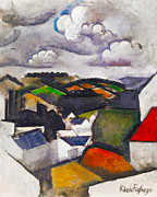 Red Roof Prints - The Hills Beyond Meulan Print by Roger de La Fresnaye