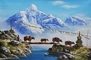 Yak Painting Posters - The Himalayan Journey  Poster by Karma  Loday