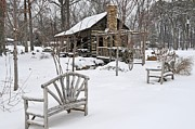 Log Cabin Art Posters - The Historic Gosnell Log Cabin After A Snowfall  Mauldin SC Poster by Willie Harper