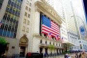 Hall Painting Prints - The historic New York Stock Exchange on Wall Street Print by Lanjee Chee