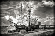 Piers Prints - The HMS Bounty in Black and White Print by Debra and Dave Vanderlaan