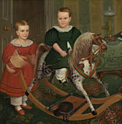 Nursery Decor Paintings - The Hobby Horse by American School