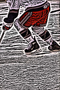 Ice Skate Prints - The Hockey Player Print by Karol  Livote