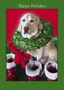 Labrador Digital Art - The Holiday Decorator by Jonathan E Whichard