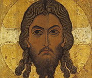 Russian Icon Painting Posters - The Holy Face Poster by Novgorod School