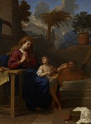 Jesus In Clouds Paintings - The Holy Family in Egypt by Charles Le Brun