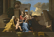 Corinthian Posters - The Holy Family on the Steps Poster by Nicolas Poussin