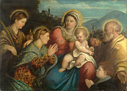 Famous Artists - The Holy Family with Saints and a Donor by Giovanni Cariani