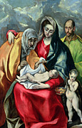 Virgin Mary Paintings - The Holy Family with St Elizabeth by El Greco Domenico Theotocopuli