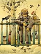 Figures Metal Prints - The Honest Thief 02 Illustration for book by Dostoevsky Metal Print by Kestutis Kasparavicius